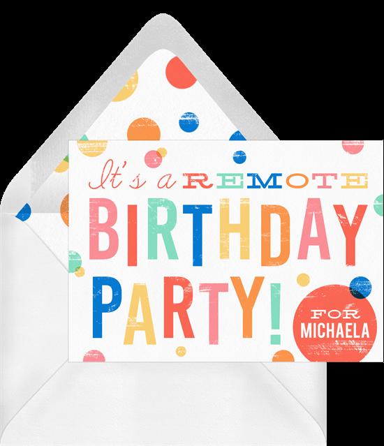 Remote Birthday Invitation by Greenvelope