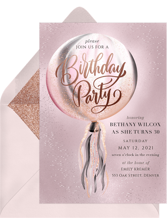 DIY party decorations: Iridescent Confetti Balloon Invitation by Greenvelope