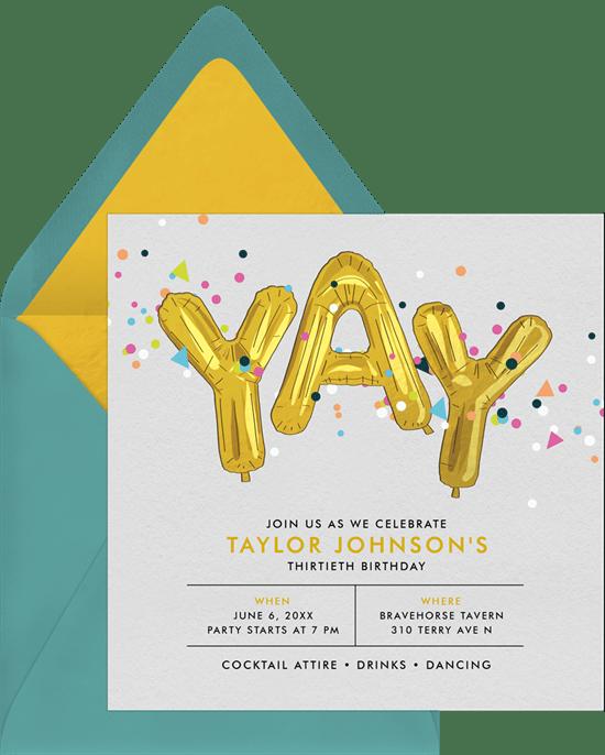 80th birthday invitations: Confetti Celebration Invitation