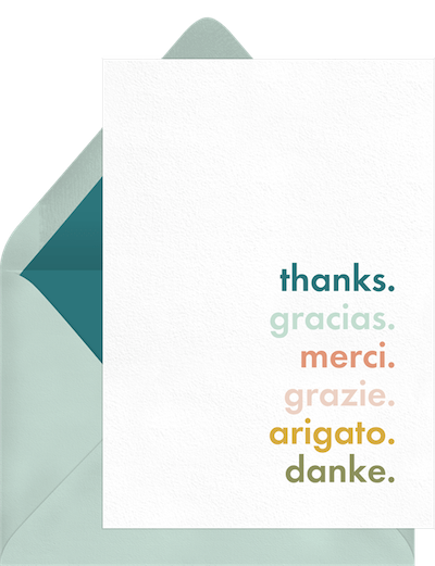 thank you card template in different languages