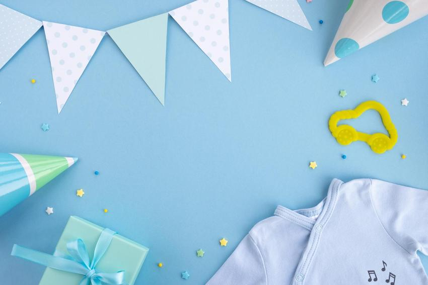Baby shower ideas for boys: Newborn baby boy accessories and festive decoration