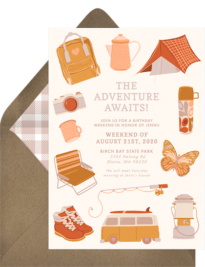 Adult party ideas: Outdoor adventure day invitation