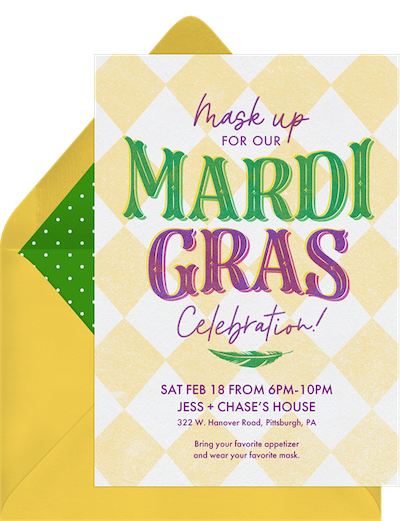 Mardi Gras decorations: Offset Mardi Gras invitations