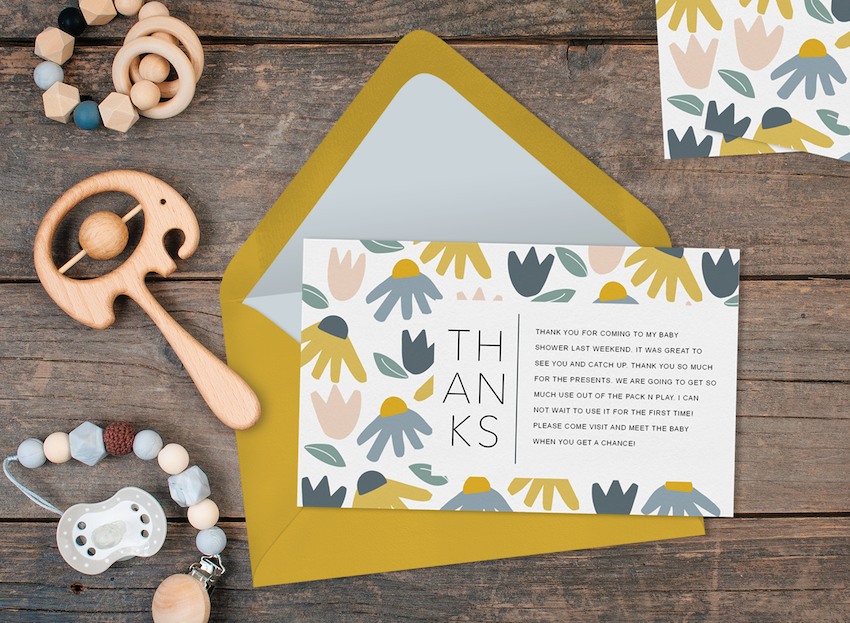 Baby shower thank you card wording: Invitation and baby rattles