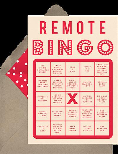 Virtual bingo invitation