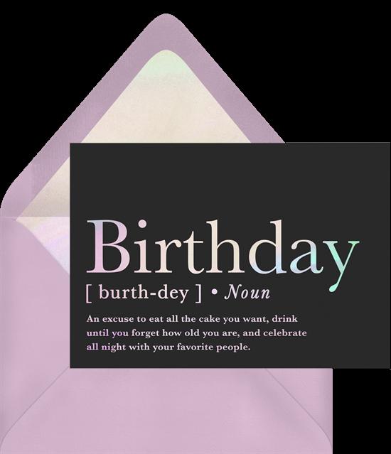 birthday gifts during quarantine: Birthday Defined Card by Greenvelope