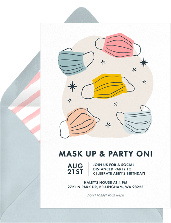 Mask Up Party On Invitation by Greenvelope