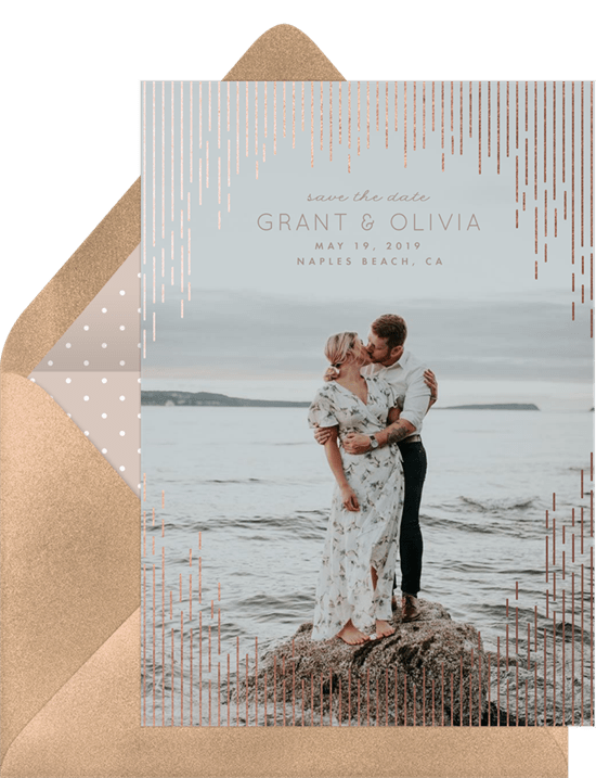 save the date postcards: Cascading Faux Foil Save the Date by Greenvelope