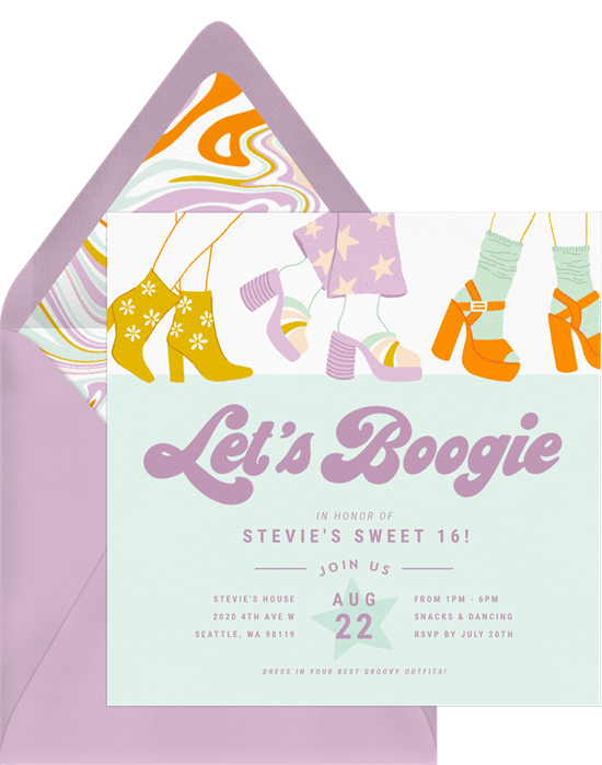 sweet 16 party ideas: Boogie Time Invitation by Greenvelope