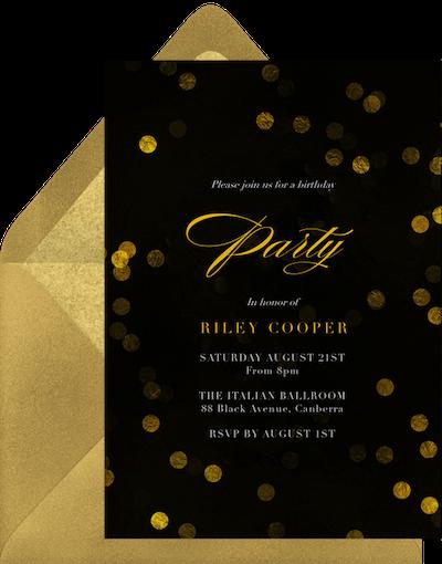 Black and gold masquerade invitation