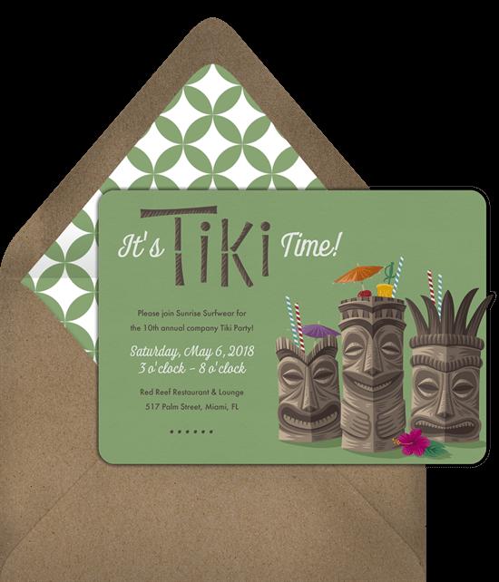 Hawaiian theme party: It's Tiki Time green colored invitation