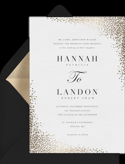 formal wedding invitation wording: Shimmering Confetti Invitation