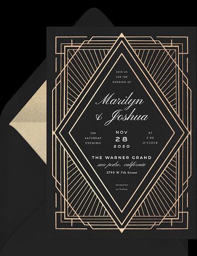 Hollywood theme party: Art deco diamond invitation