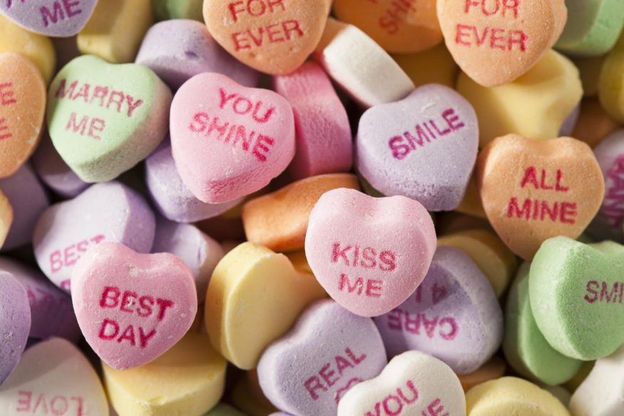 Valentines Day quotes: Close up shot of Sweethearts candies