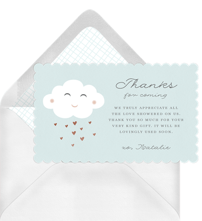 Baby shower thank you card wording: Sweet fluffy cloud thank you invitation