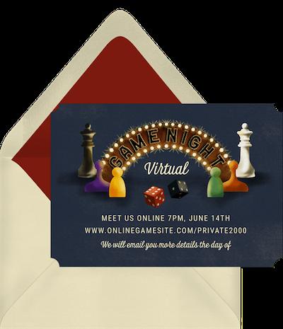 Virtual game night: Classic game night invitation