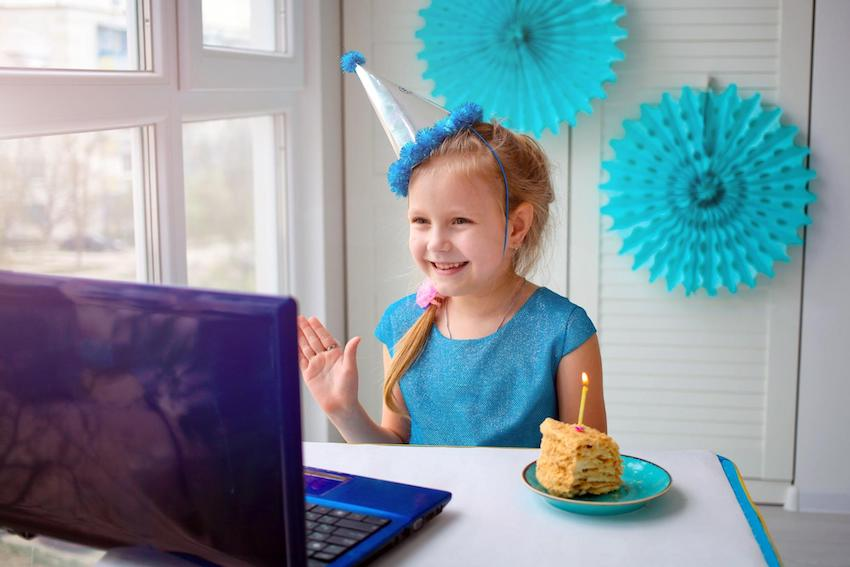 Quarantine birthday ideas for kids: Toddler celebrating her birthday online