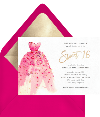 sweet 16 ideas: girly gown invitation