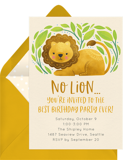 Sweet lion invitation