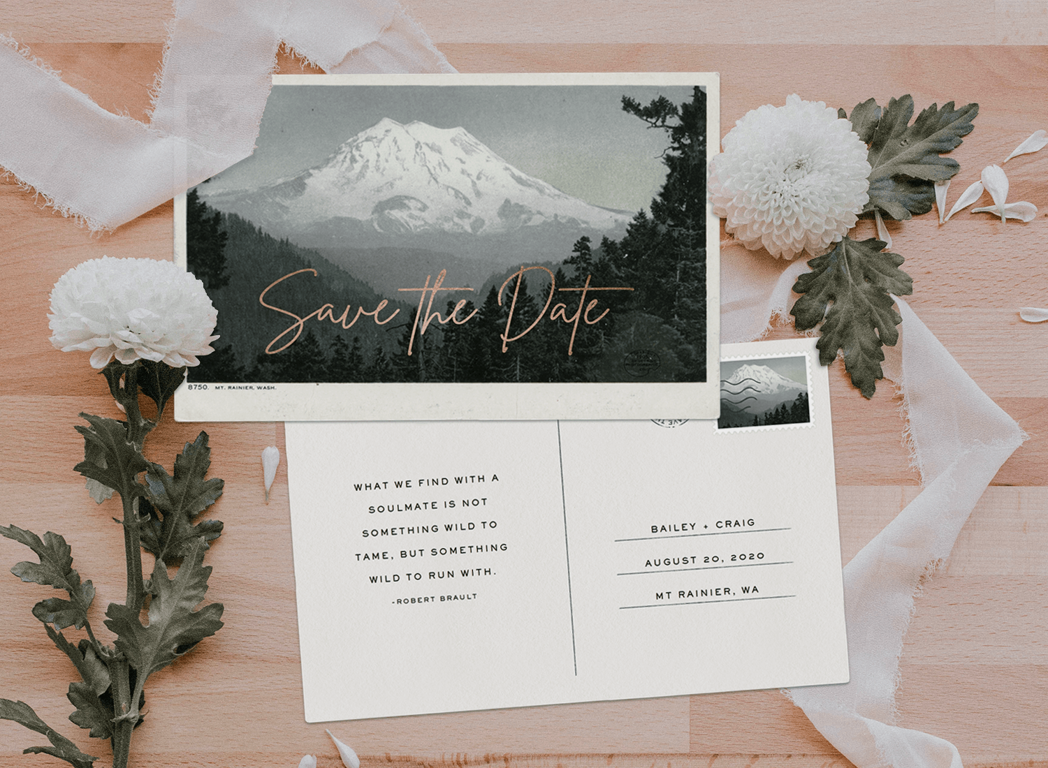save the date postcards: Mt. Rainier Save the Date