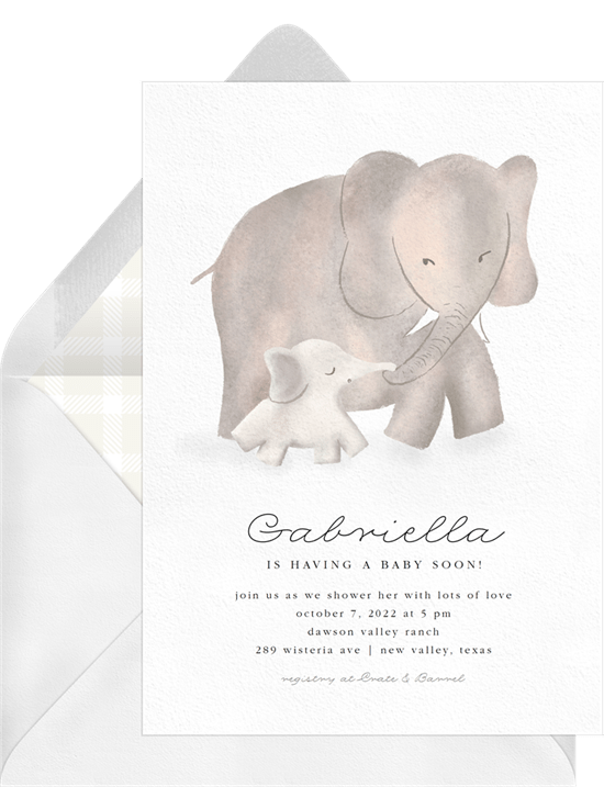 virtual baby shower invitation wording: Mama Elephant Invitation from Greenvelope
