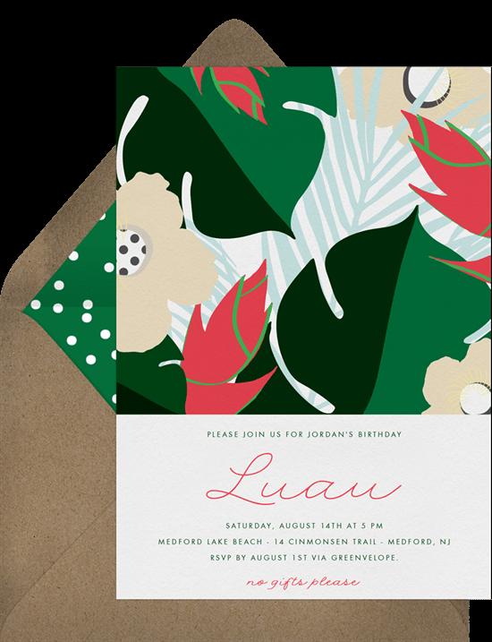 Hawaiian theme party: Luau Party Favors invitation