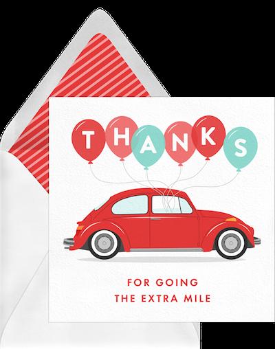 car themed thank you card template