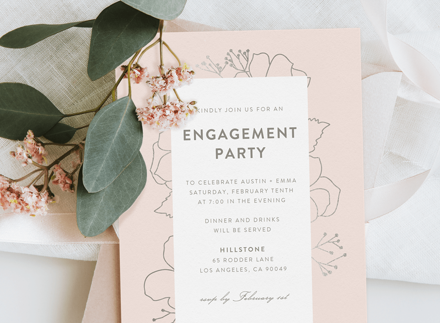 Engagement party ideas: simple engagement party invitation with a flower