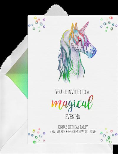 Magical unicorn invitation