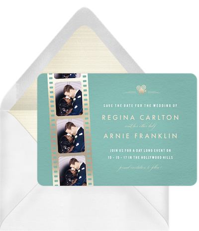 Hollywood glam save the date invitation