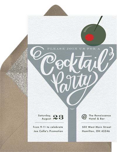 Adult party ideas: Cocktails and canapes invitation