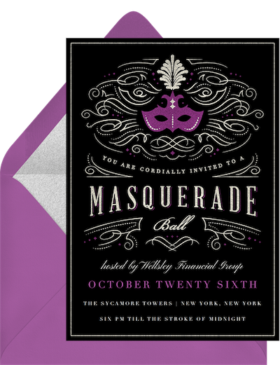 Mardi Gras decorations: Masquerade ball invitation