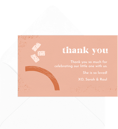 Baby shower thank you card wording: Abstract boho baby thank you invitation