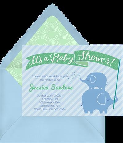 Baby shower ideas for boys: Stacked elephants invitation