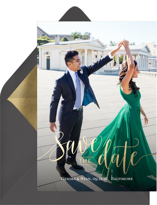 save the date postcards: Sweet Script Save the Date by Greenvelope