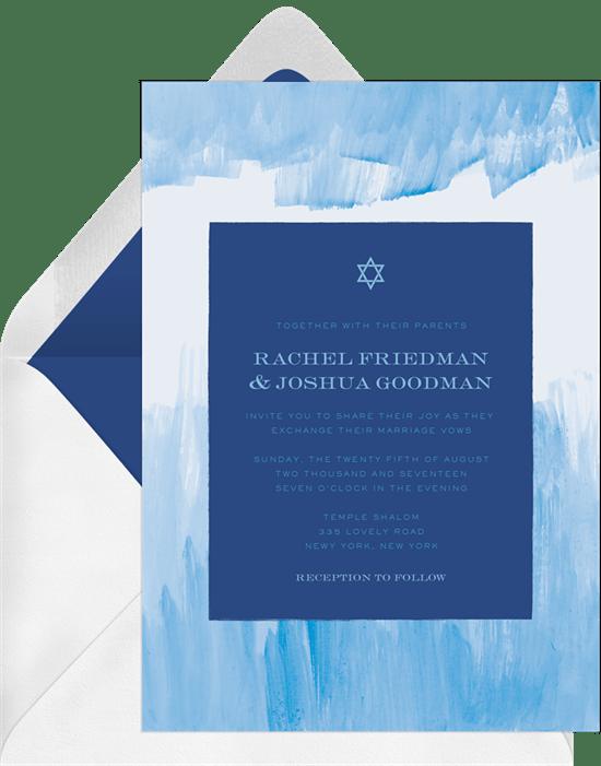 Blue Brushstrokes Invitation from Greenvelope