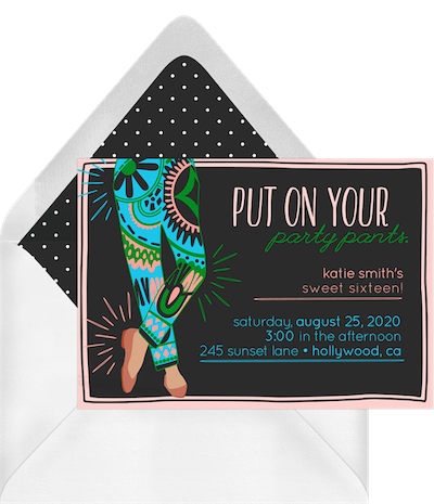 sweet 16 ideas: fancy pants invitation