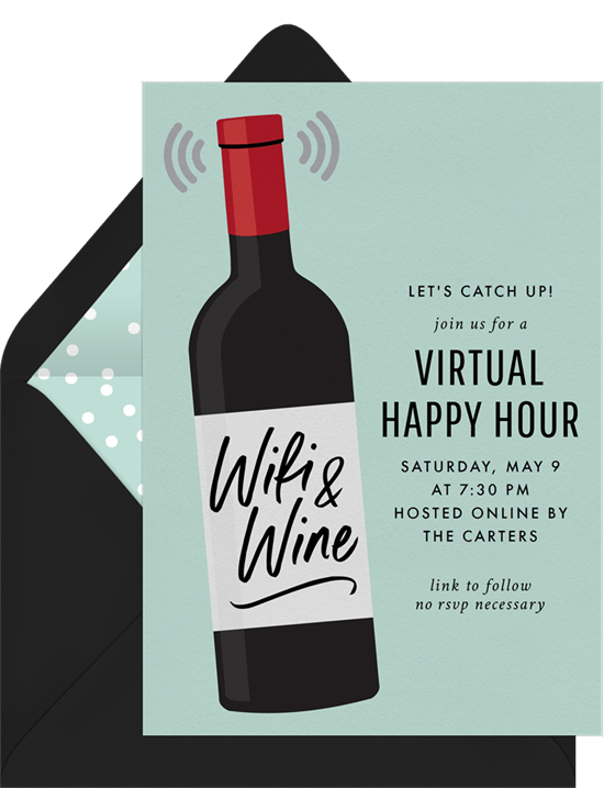 remote team building activities: Wifi and Wine Invitation by Greenvelope