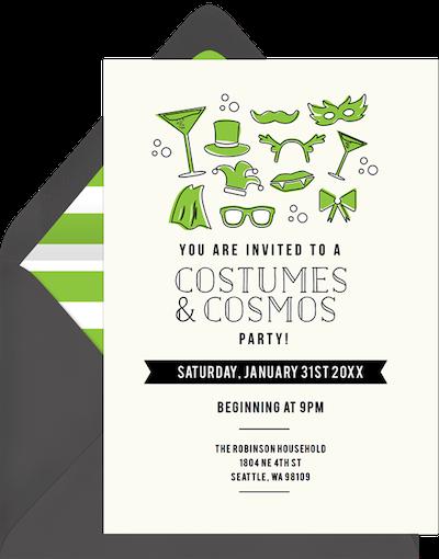 Costumes & cosmos invitation