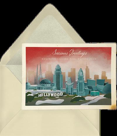 Los Angeles skyline card invitation