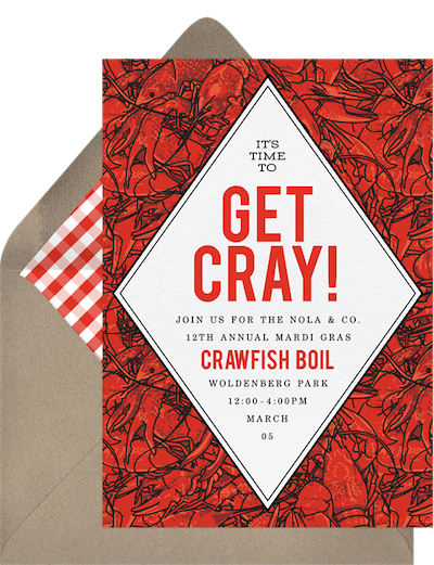 Mardi Gras decorations: Cajun crawfish invitation