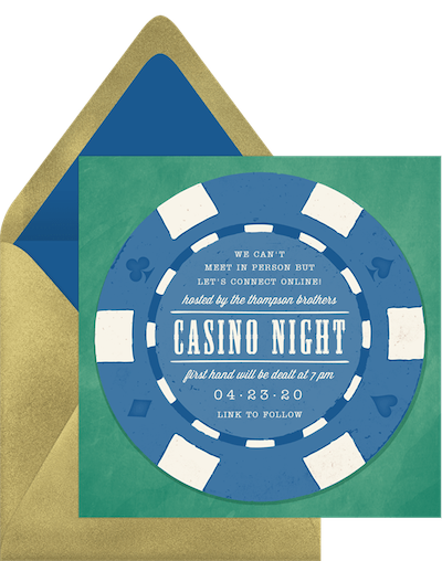Virtual game night: Casino night invitation