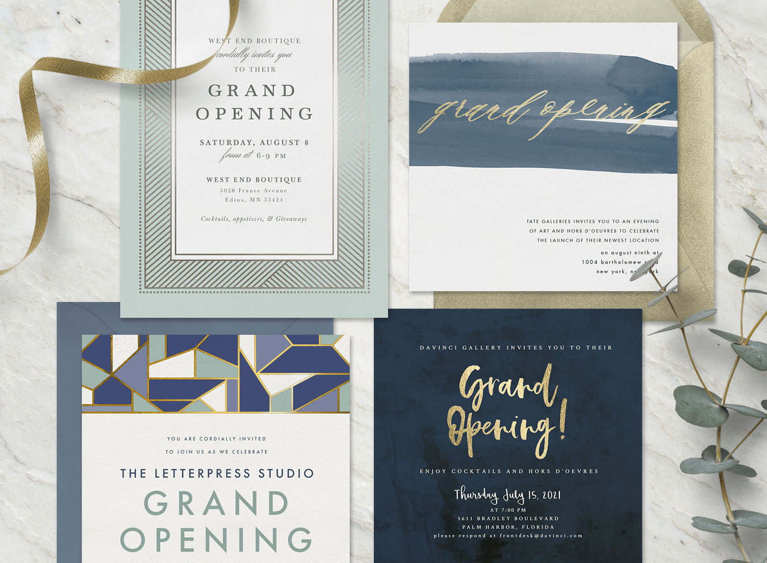 grand opening invitation: Elegant grand opening invitations on a marble surface