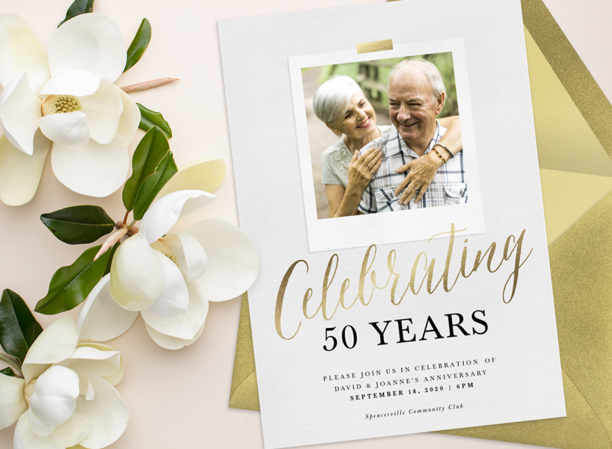 50th wedding anniversary invitations: White and gold