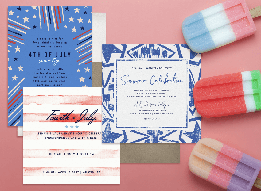 4th of July party invitations with three colorful popsicles against a pink background