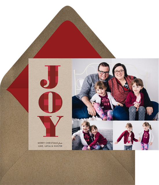 "Digital holiday cards with three photos and a plaid-print ""JOY"""