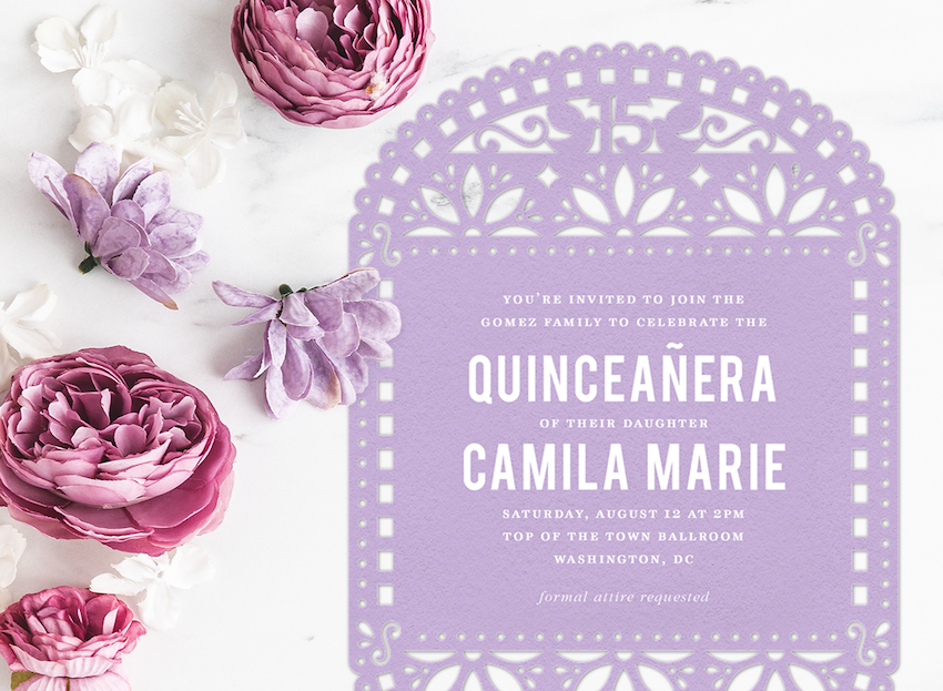 quince invitations wording: lavender with flowers themed quince invitation