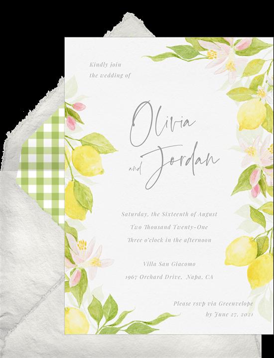 brunch wedding: lemon orchard wedding invitation from Greenvelope