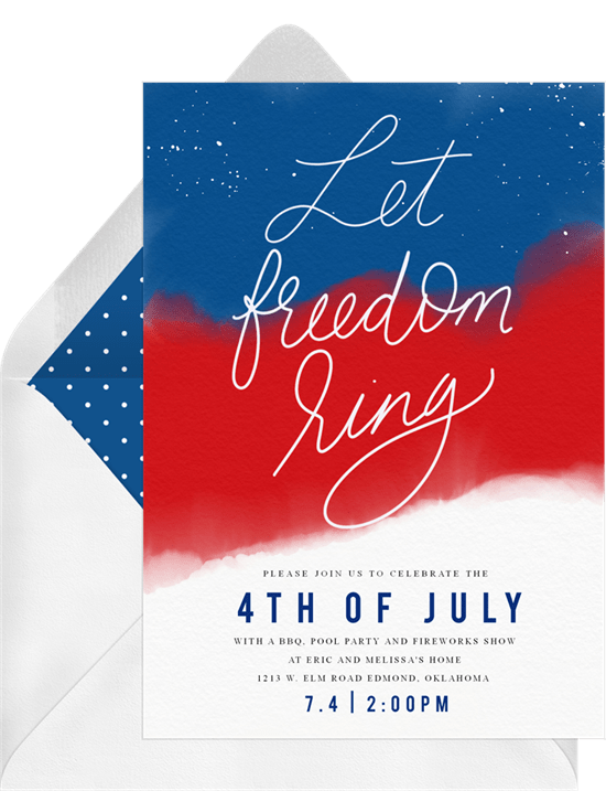 4th of July party ideas: let freedom sing written on invitation design