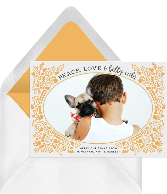 Digital holiday cards with a photo surrounded by a pet-themed wreath illustration